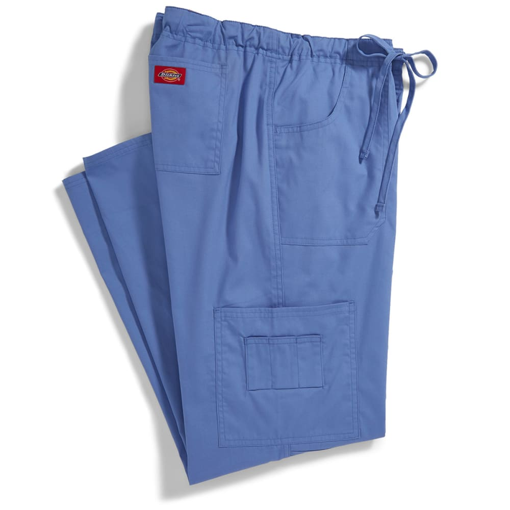 DICKIES Juniors' Everyday Scrubs Low Rise Drawstring Cargo Pants - CEIL BLUE