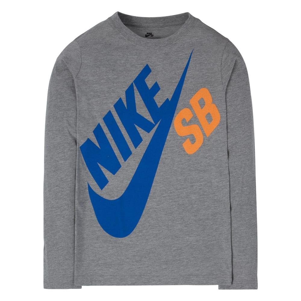 NIKE SB Boys' Long-Sleeve Logo Tee - GRAPHITE/ELECTRIC BL