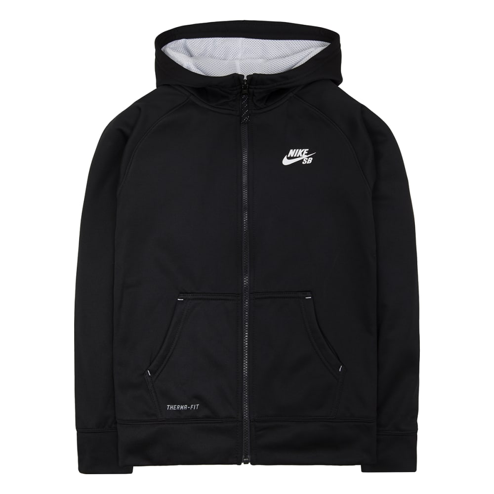 NIKE SB Boys' Therma Fit Logo Full Zip Hoodie - BLACK