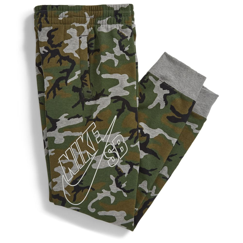 NIKE SB Boys' All Over Camo Printed Everett Pants - DARK GREY HEATHER