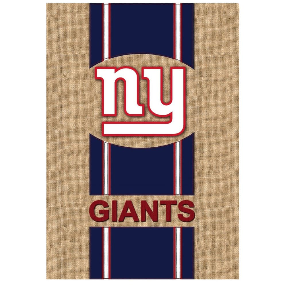 NEW YORK GIANTS Burlap Flag - DUSTY CEDAR