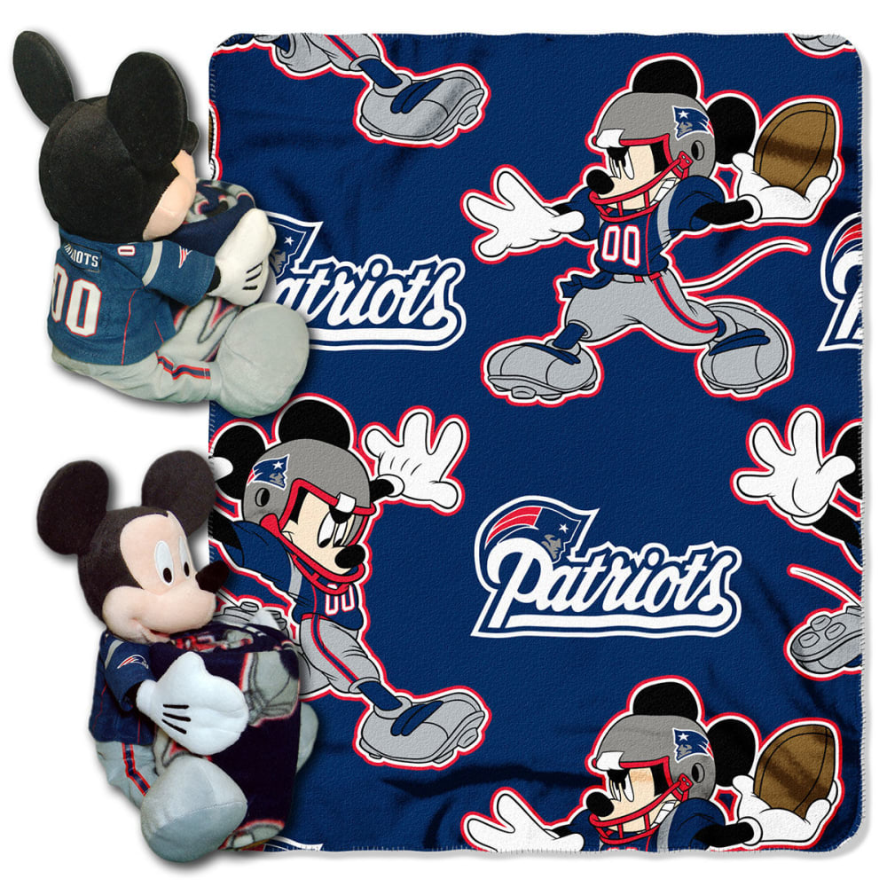 NEW ENGLAND PATRIOTS Mickey Mouse Hugger with Blanket - CRYSTAL