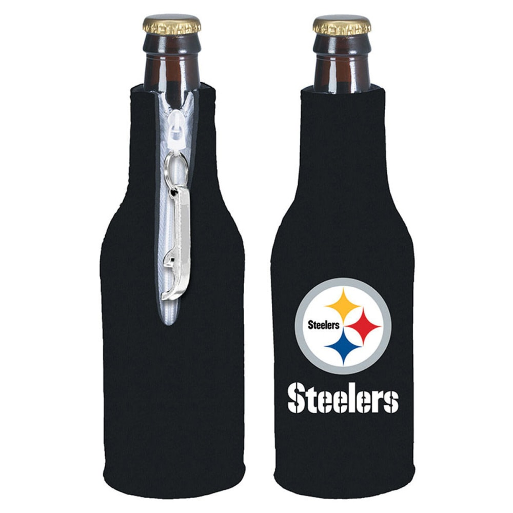 PITTSBURGH STEELERS Zip Koozy With Opener - BLACK