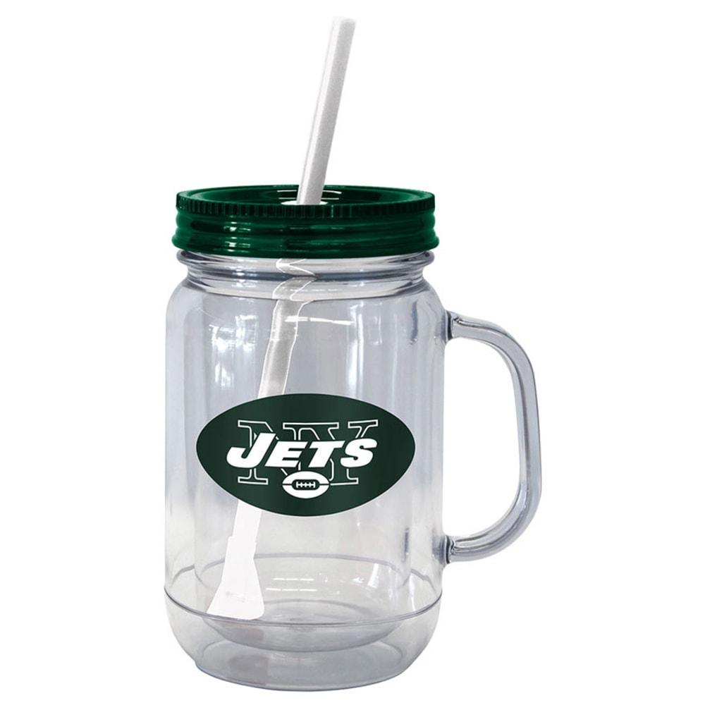 NEW YORK JETS Plastic Mason Jar With Handle - ASSORTED
