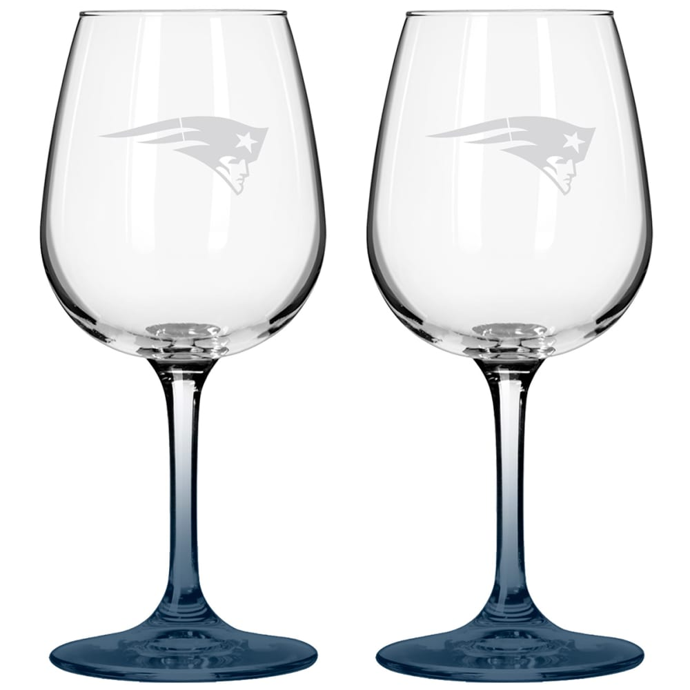 NEW ENGLAND PATRIOTS Satin Etched Wine Glasses, Set of 2 - BLUE
