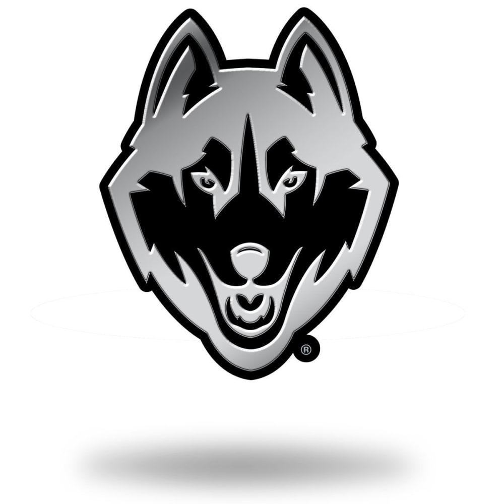 UCONN HUSKIES Chrome Auto Emblem - BLACK/STEEL/TROPICAL