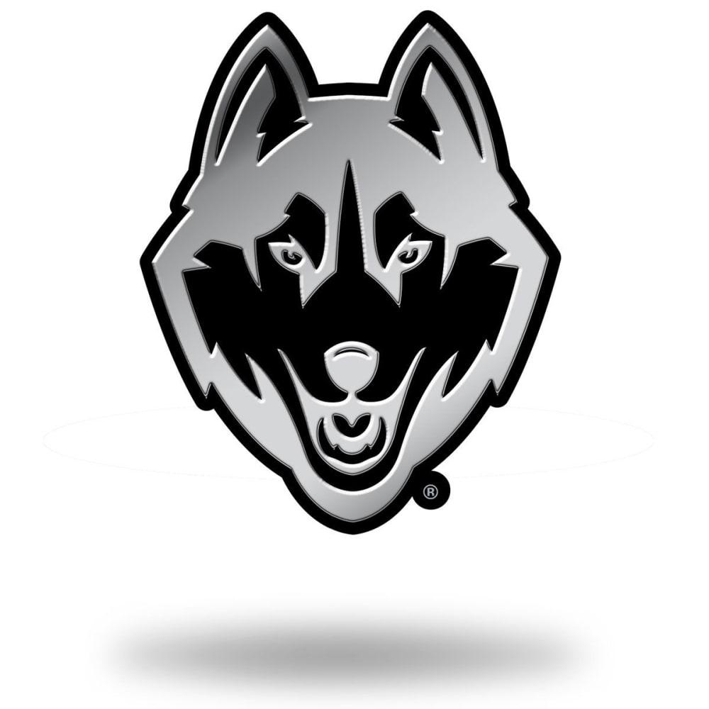 UCONN HUSKIES Chrome Auto Emblem - BLACK/STEEL/TROPICAL