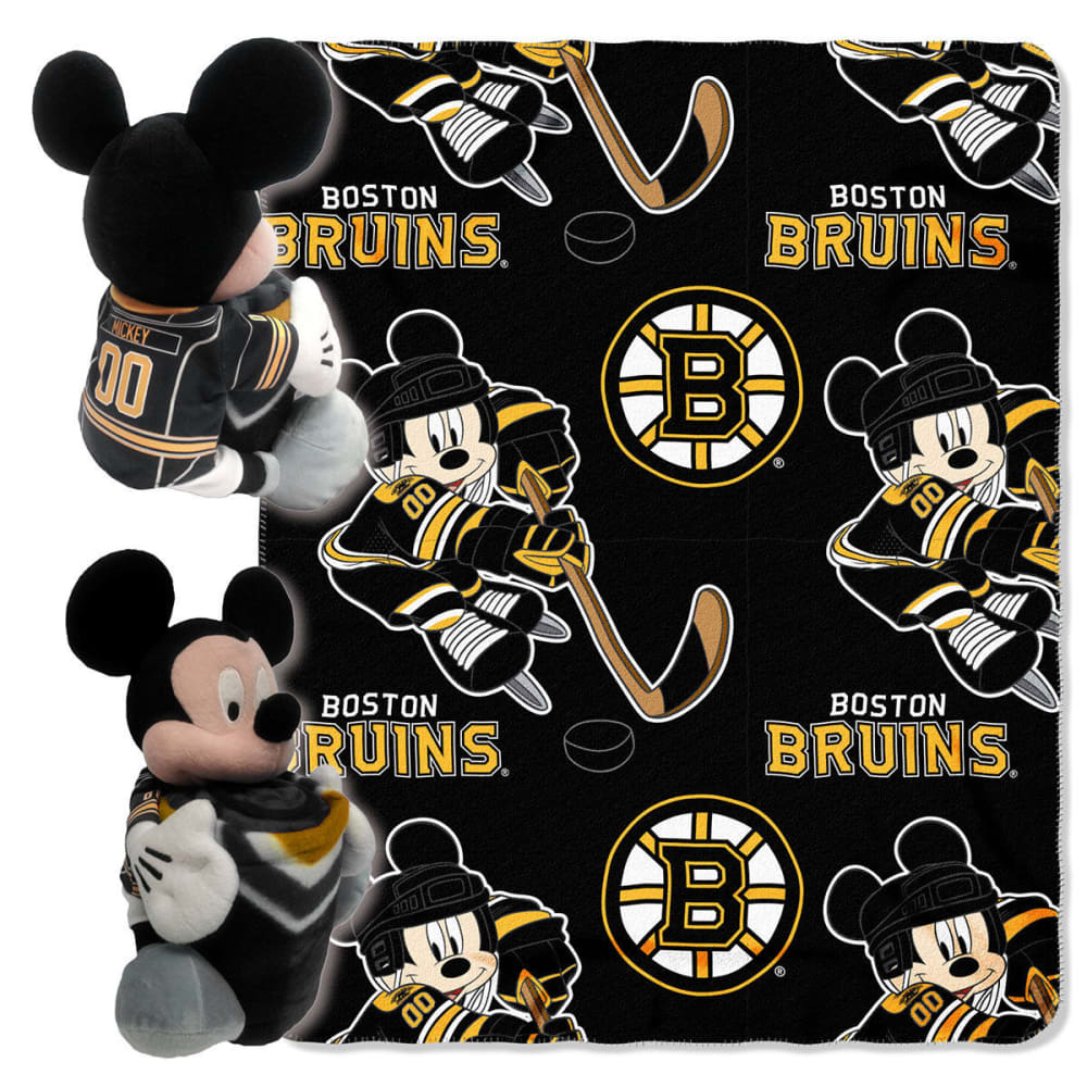 BOSTON BRUINS Mickey Mouse Blanket Set - BLACK/YELLOW