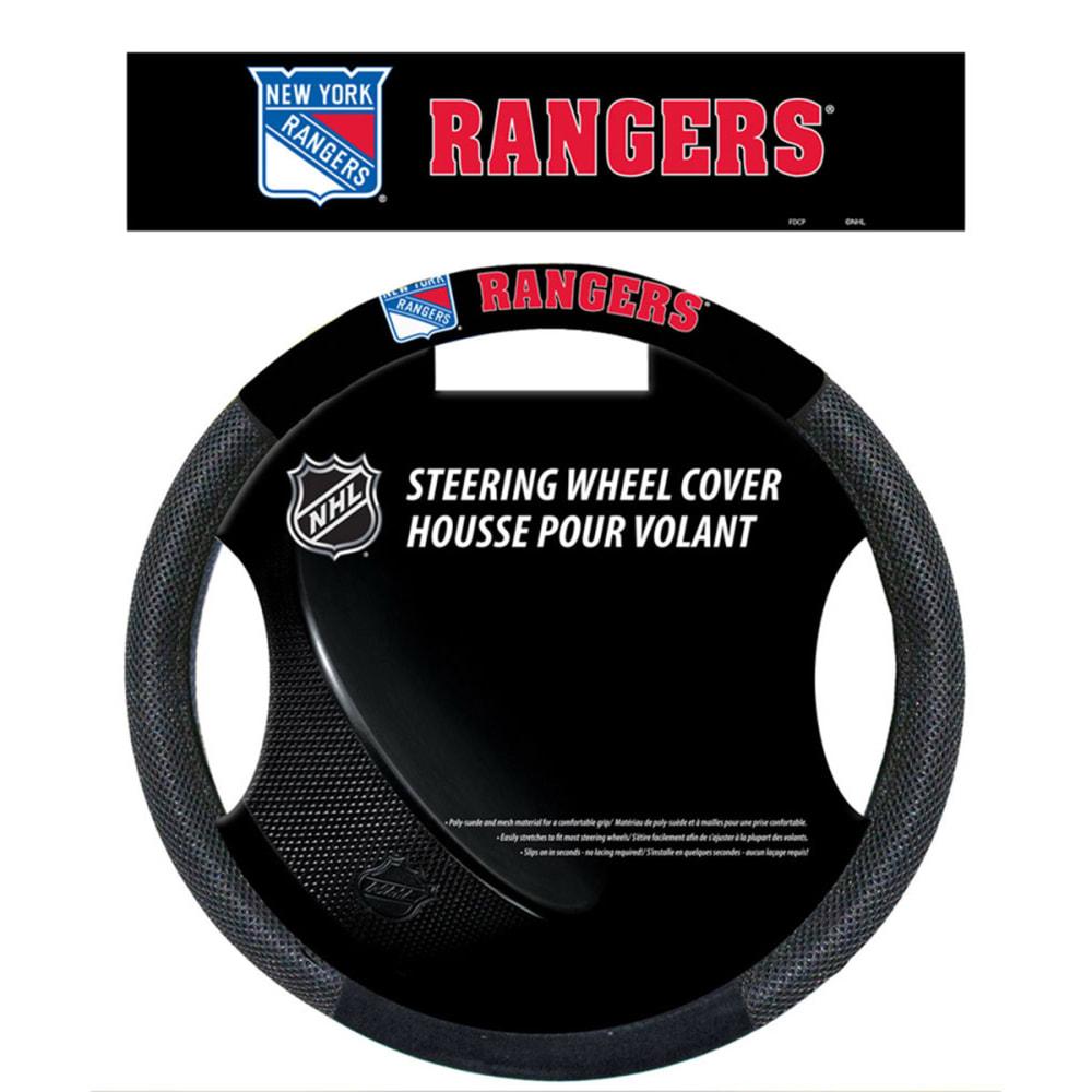 NEW YORK RANGERS Poly-Suede Steering Wheel Cover - BLACK