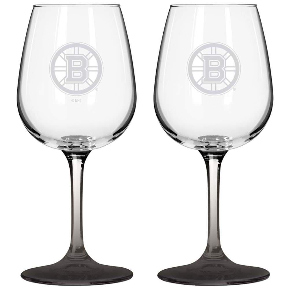 BOSTON BRUINS Satin Etched Wine Glasses, Set of 2 - BLACK/YELLOW