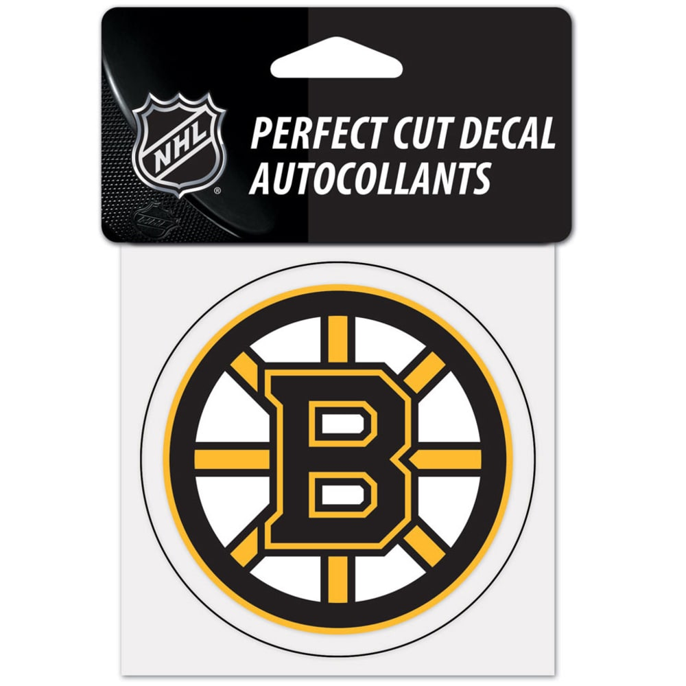 BOSTON BRUINS 4 x 4 in. Perfect Cut Decal - BLACK/YELLOW