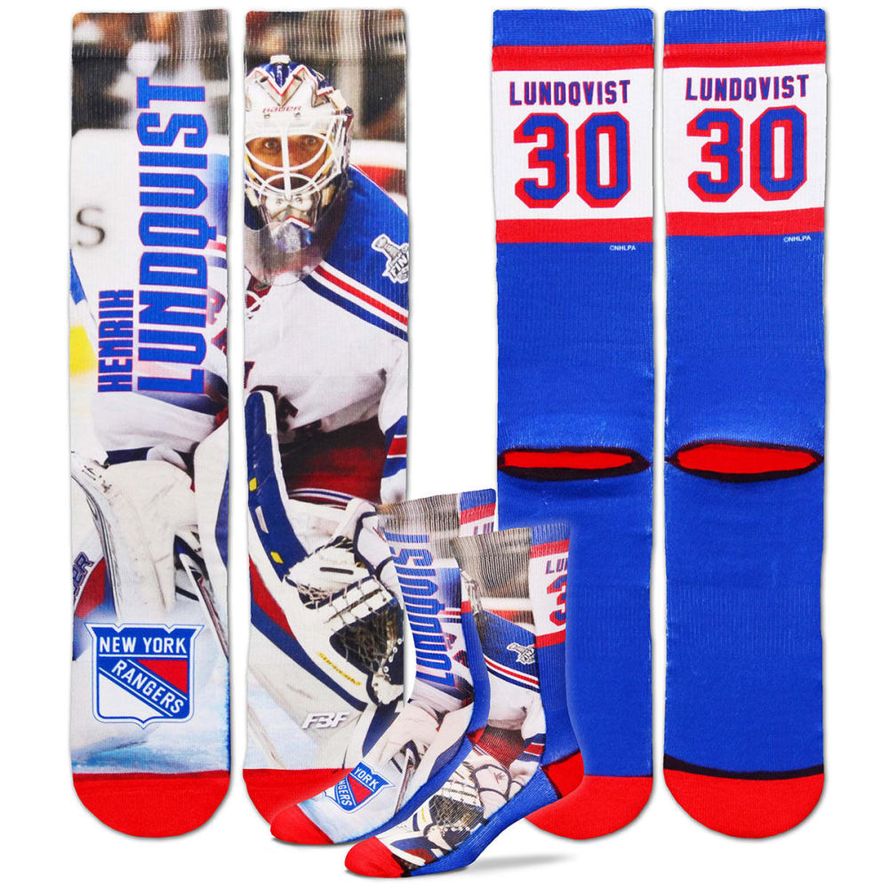 New York Rangers Men's Henrik Lundqvist Sublimated Player Crew Socks - Green, L