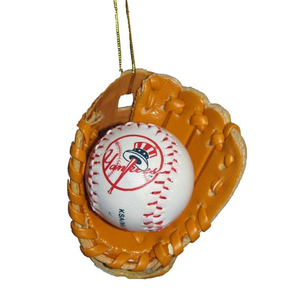 NEW YORK YANKEES Baseball in Glove Ornament - MULTI