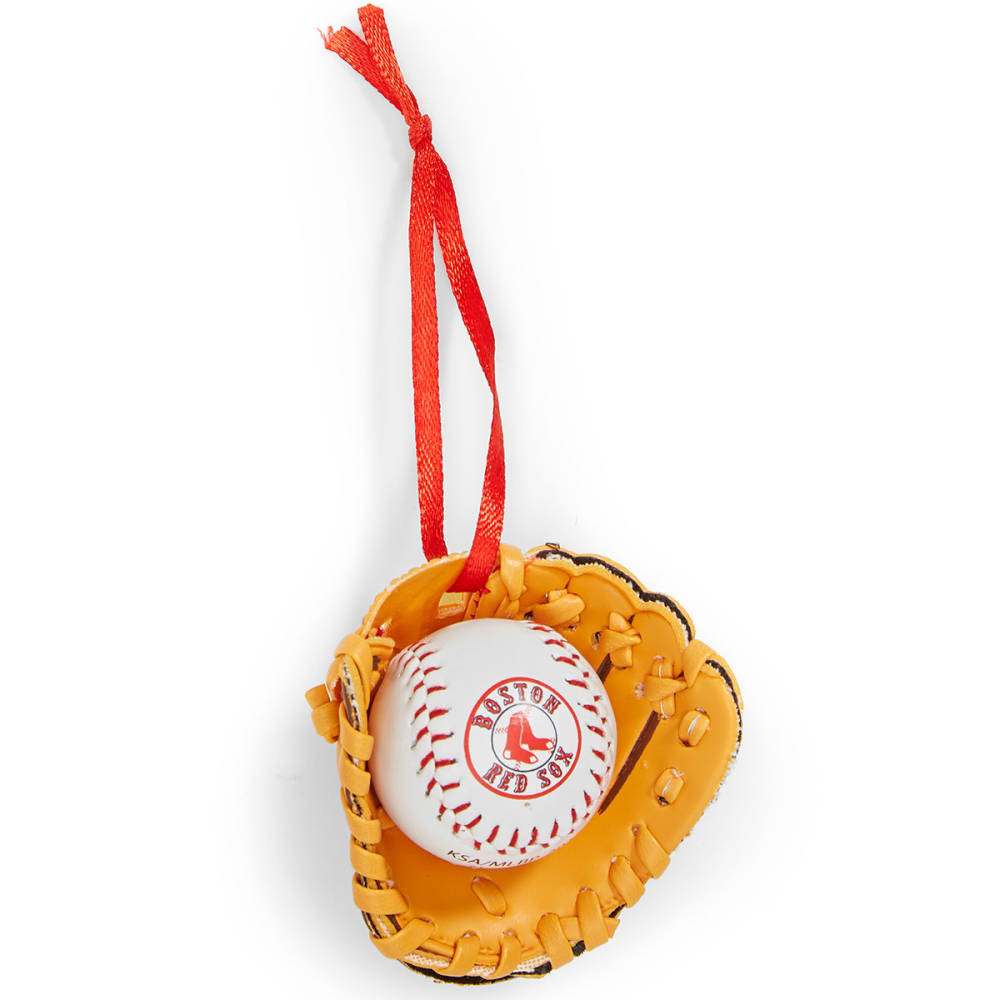 BOSTON RED SOX Baseball in Glove Ornament - NAVY