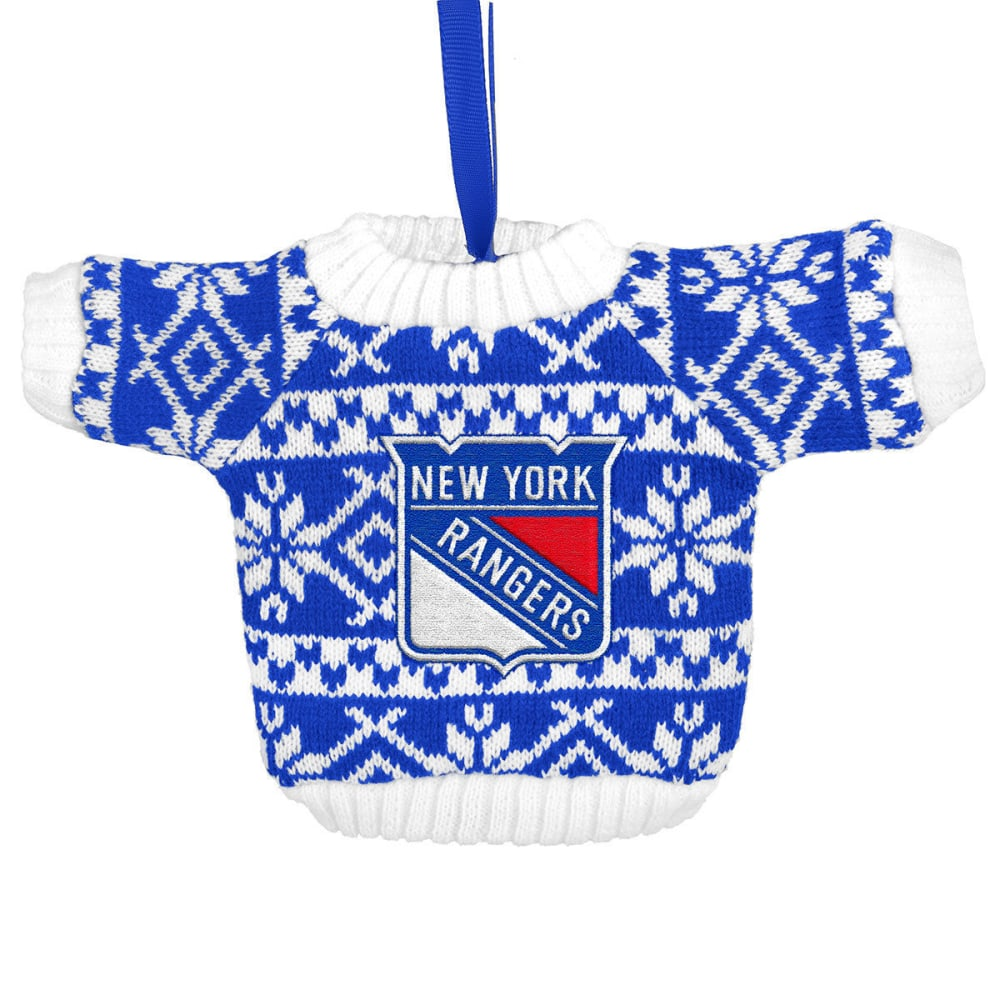 NEW YORK RANGERS Knit Sweater Ornament - RYL/WHT