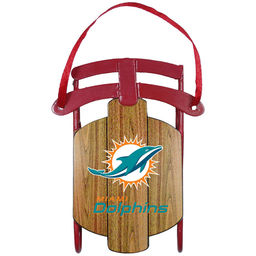 MIAMI DOLPHINS Metal Sled Ornament - DOLPHINS