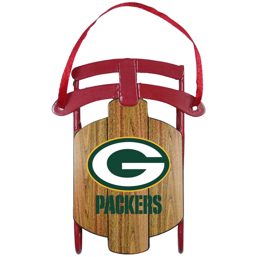 GREEN BAY PACKERS Metal Sled Ornament - PACKERS
