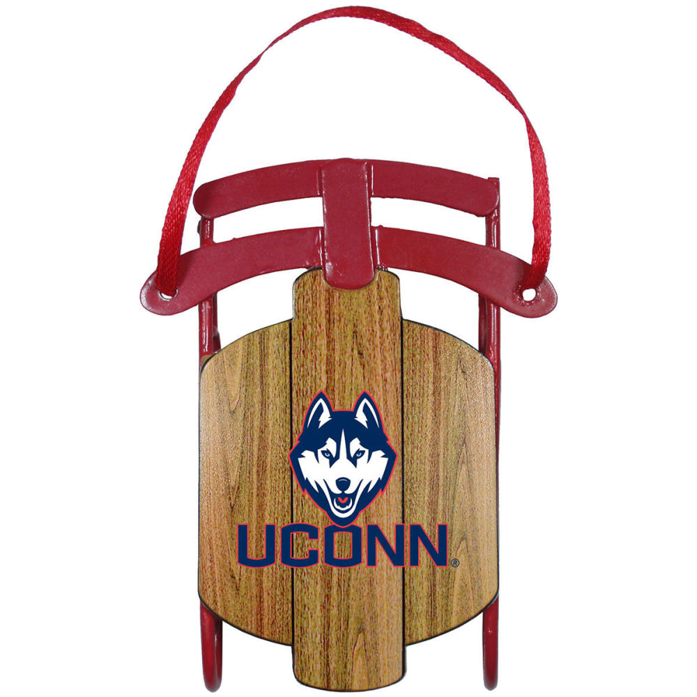 Uconn Metal Sled Ornament