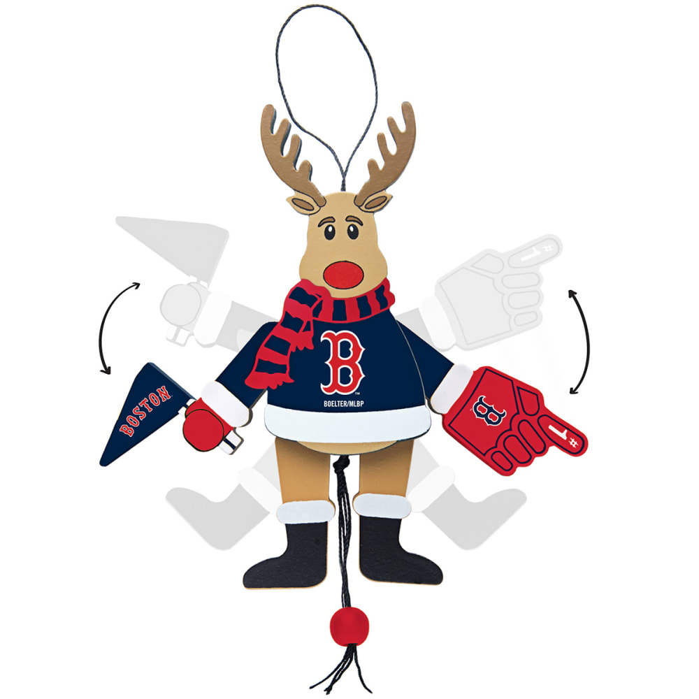 BOSTON RED SOX Christmas Reindeer Ornament - RED SOX