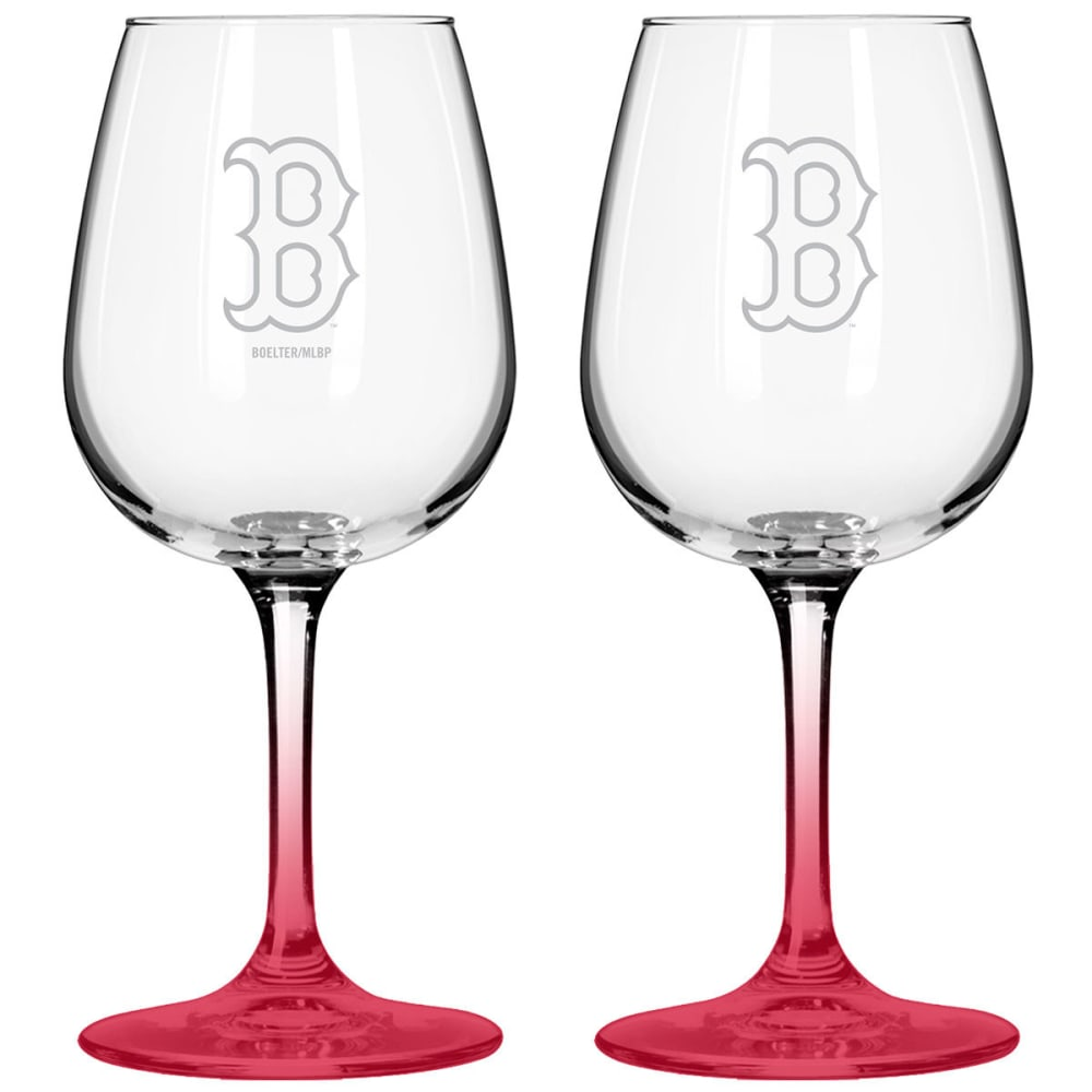 BOSTON RED SOX Satin Etched Wine Glasses, Set of 2 - RED