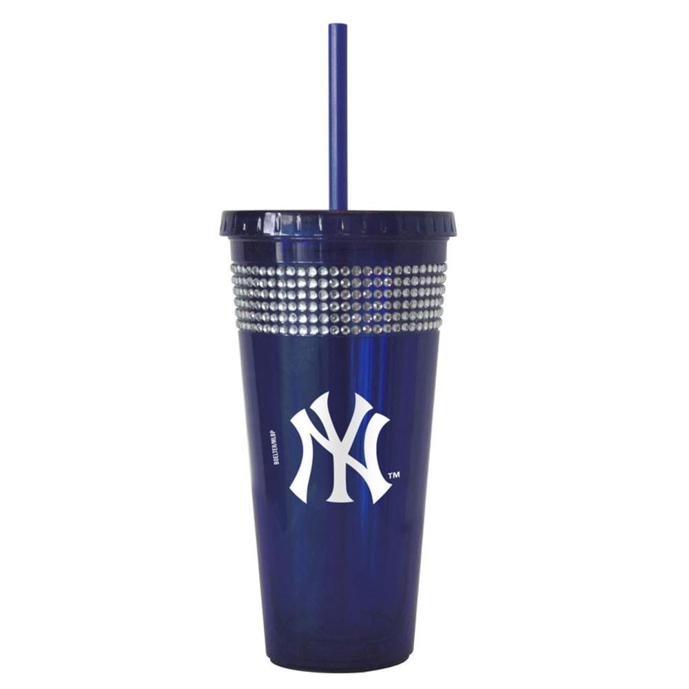 NEW YORK YANKEES Bling Straw Tumbler - BLUE