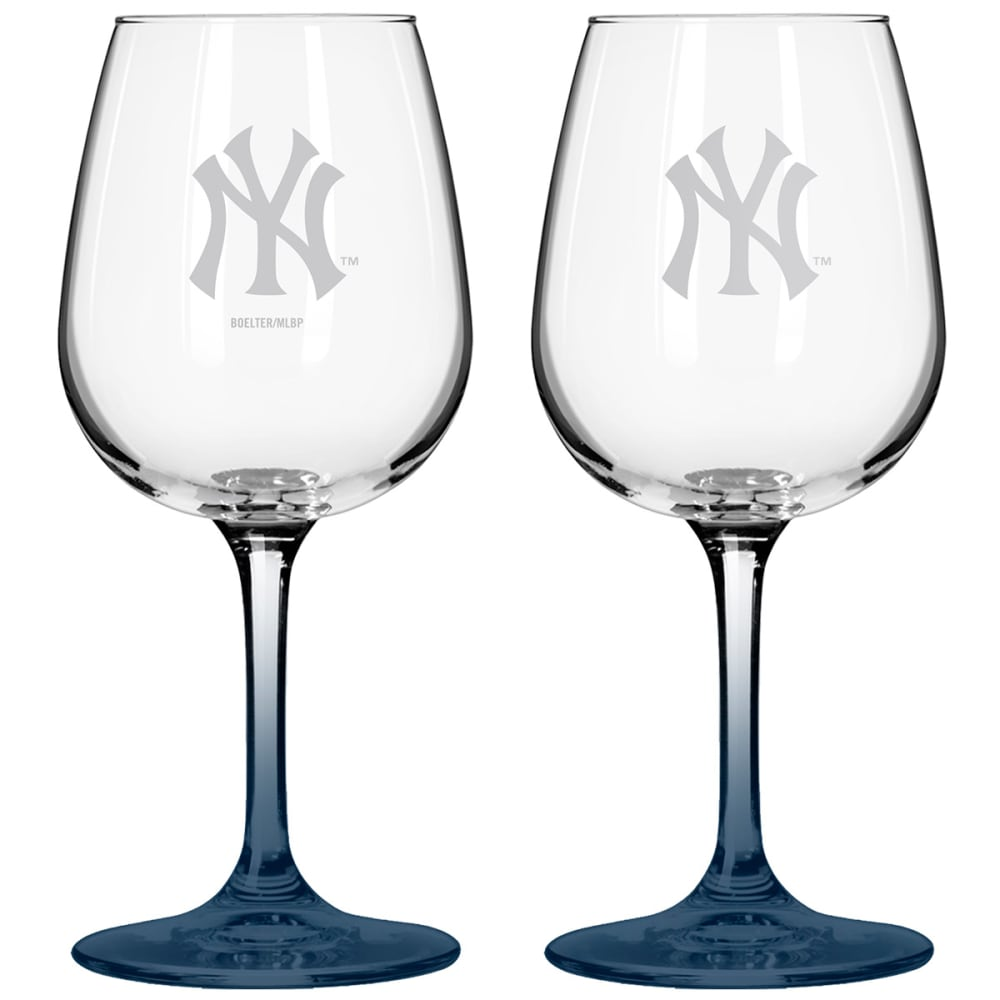NEW YORK YANKEES Satin Etched Wine Glasses, Set of 2 - NAVY