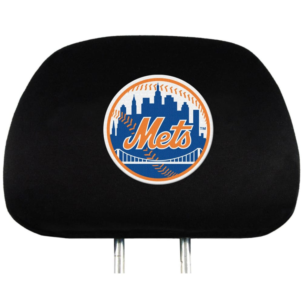NEW YORK METS Car Headrest Covers, 2 Pack - HEATHER CHARCOAL