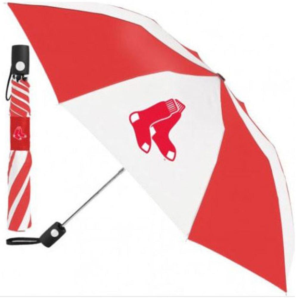 BOSTON RED SOX Automatic Folding Umbrella - RED/WHITE