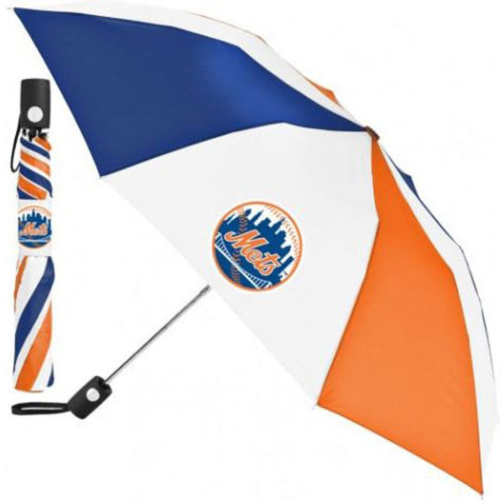 NEW YORK METS Automatic Folding Umbrella - BLUE/ORANGE/WHITE