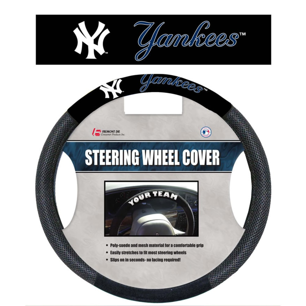 NEW YORK YANKEES Poly-Suede Steering Wheel Cover - ASSORTED