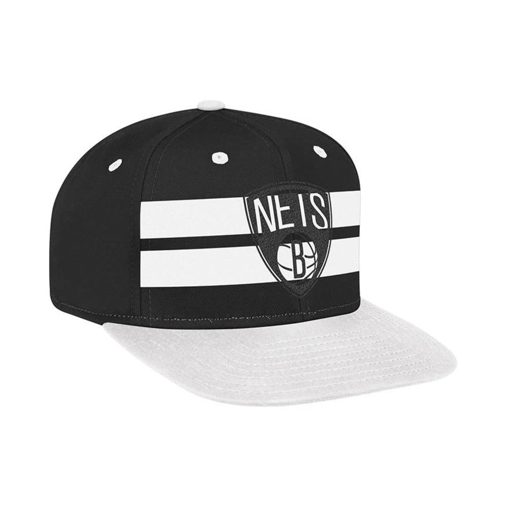 BROOKLYN NETS Flat Brim Snapback Hat - BLACK