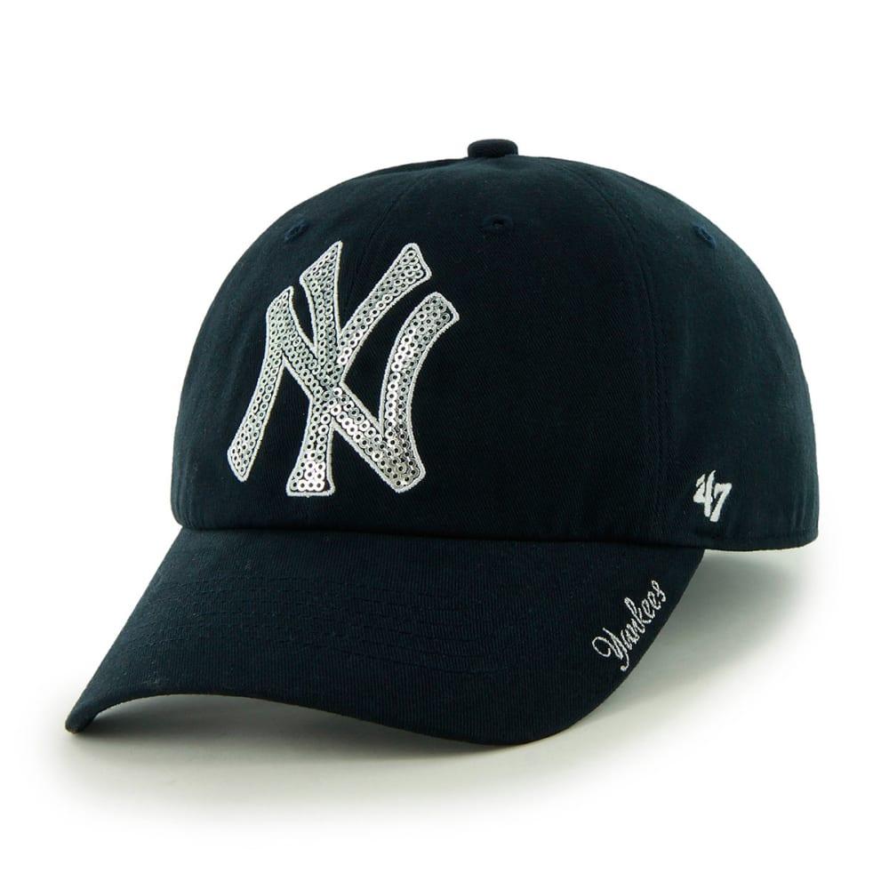 NEW YORK YANKEES Women's Sparkle Adjustable Cap - NAVY