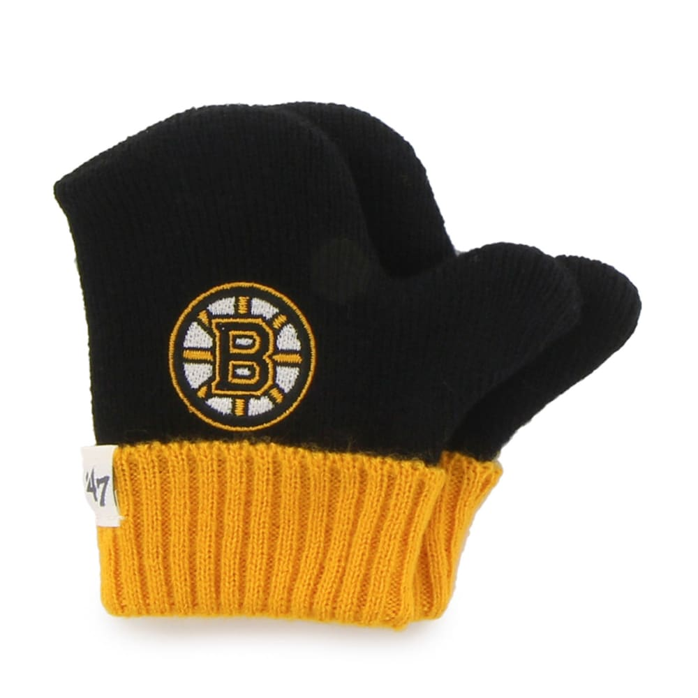 BOSTON BRUINS Youth Bam Bam Knit Hat and Gloves Set - BLACK/YELLOW