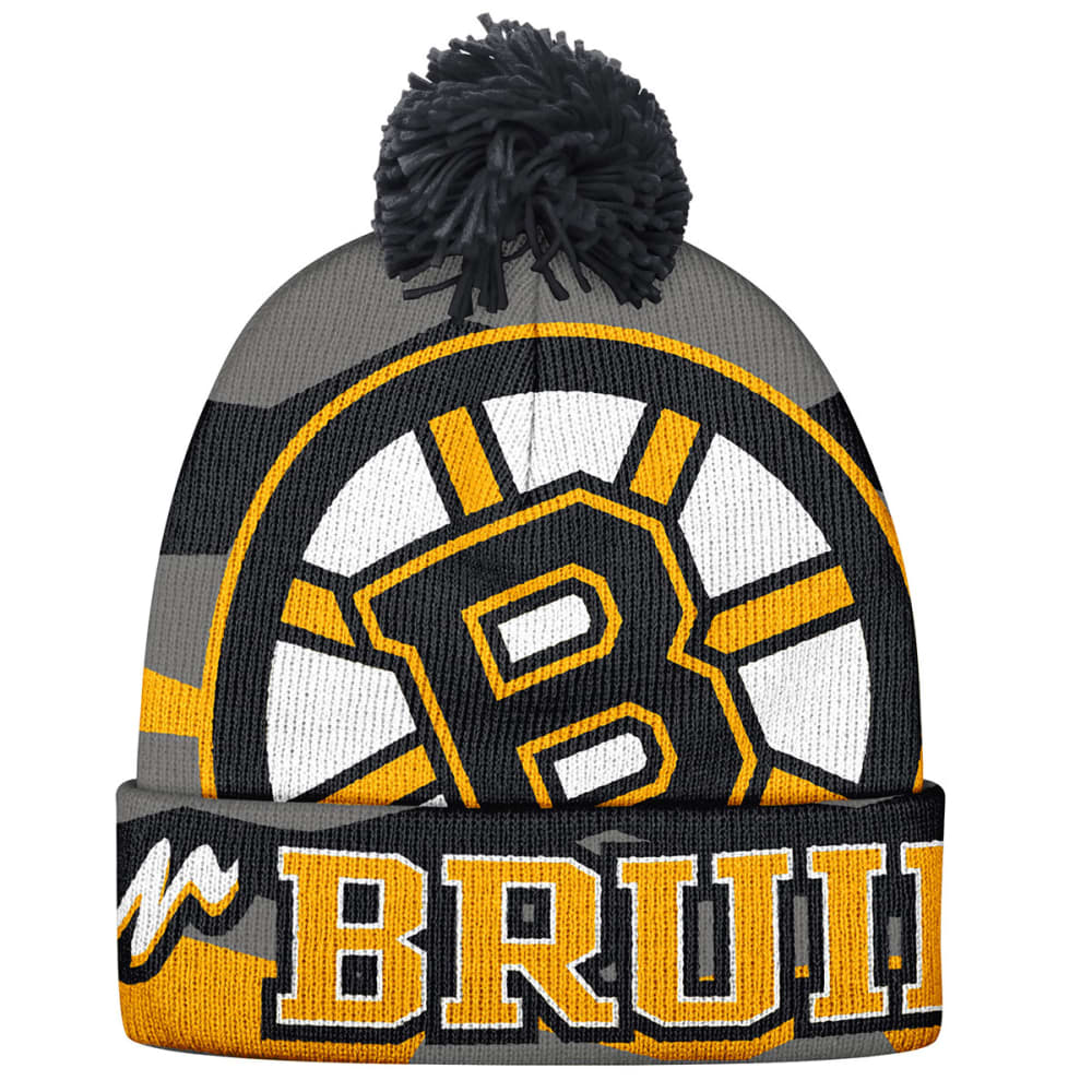 BOSTON BRUINS Multi Logo Pom Knit Beanie - BLACK/GOLD