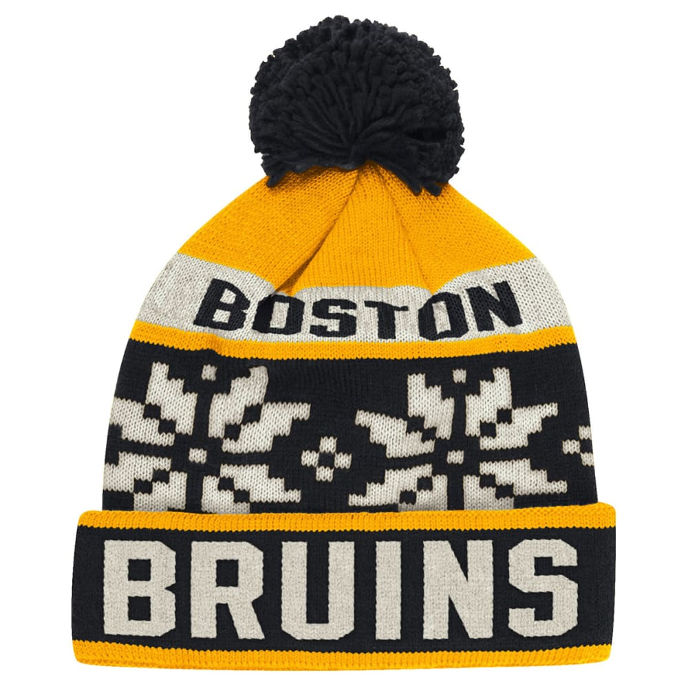 BOSTON BRUINS Nordic Pom Beanie - ASPHALT HEATHER/GRAP