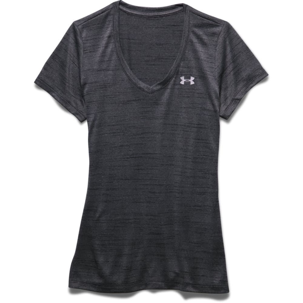 UNDER ARMOUR Women's Tech Tiger V-Neck Tee - BLACK