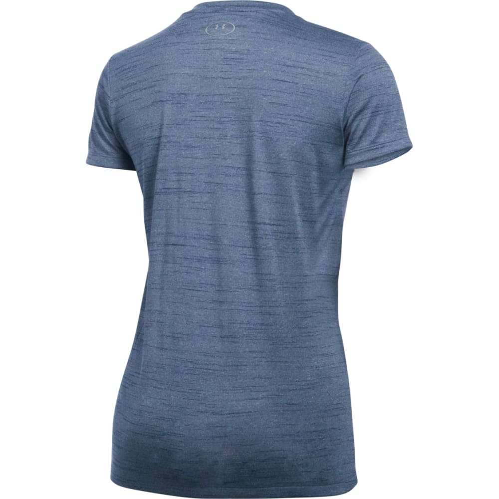 UNDER ARMOUR Women's Tech Tiger V-Neck Tee - FADED INK 418