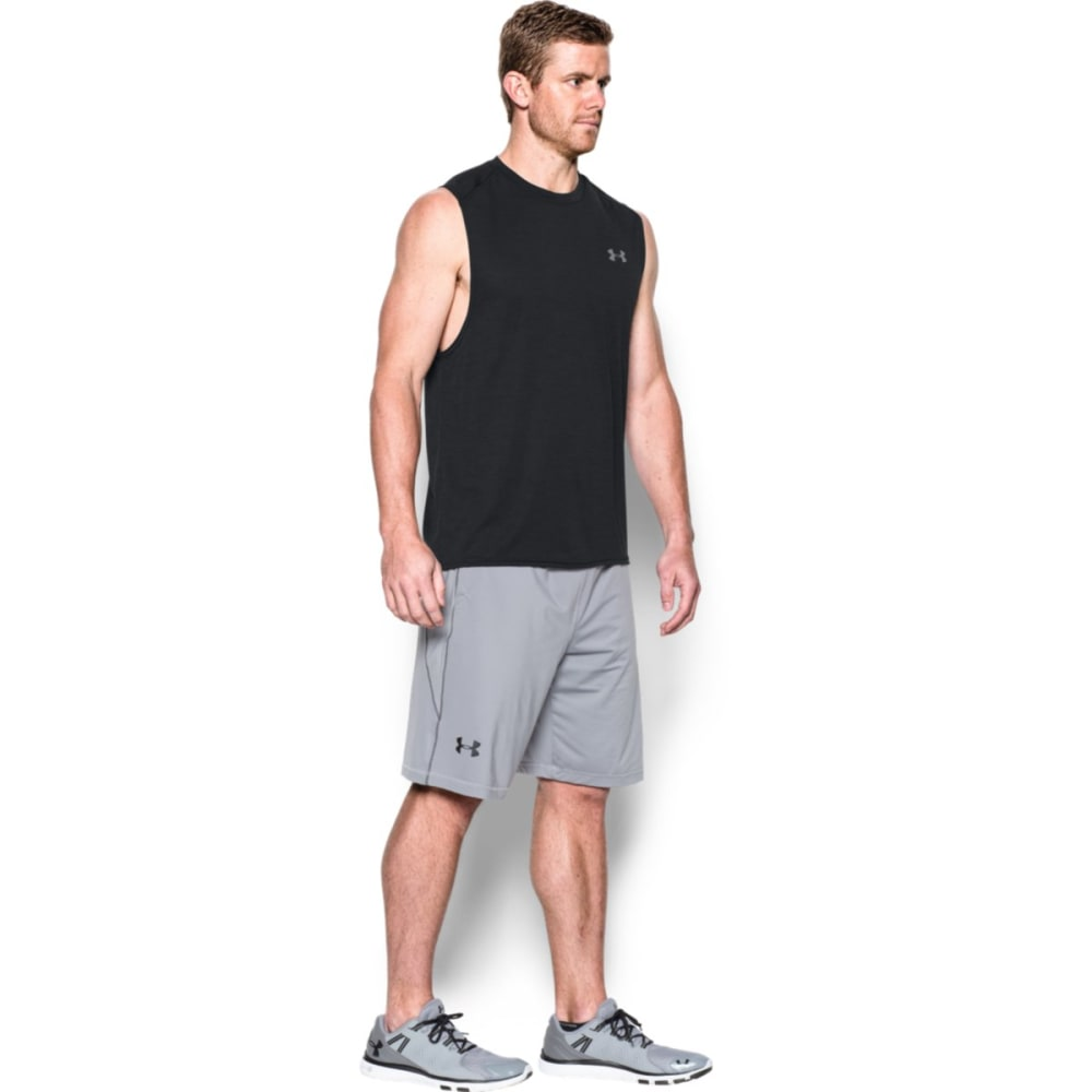 UNDER ARMOUR Men's Tech Muscle Tank - BLACK/STEEL-001