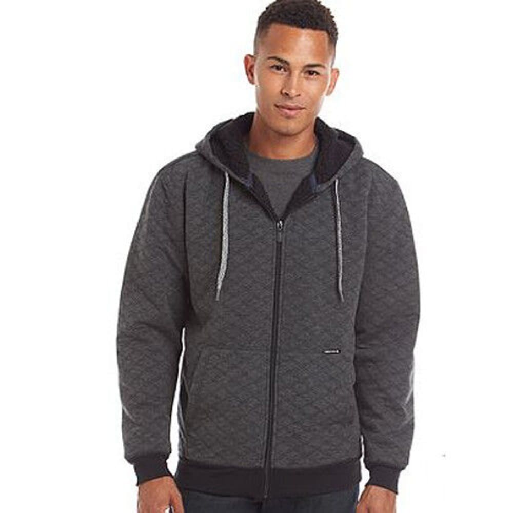 OCEAN CURRENT Guys' Boss Quilted Sherpa Full-Zip Hoodie - BLACK