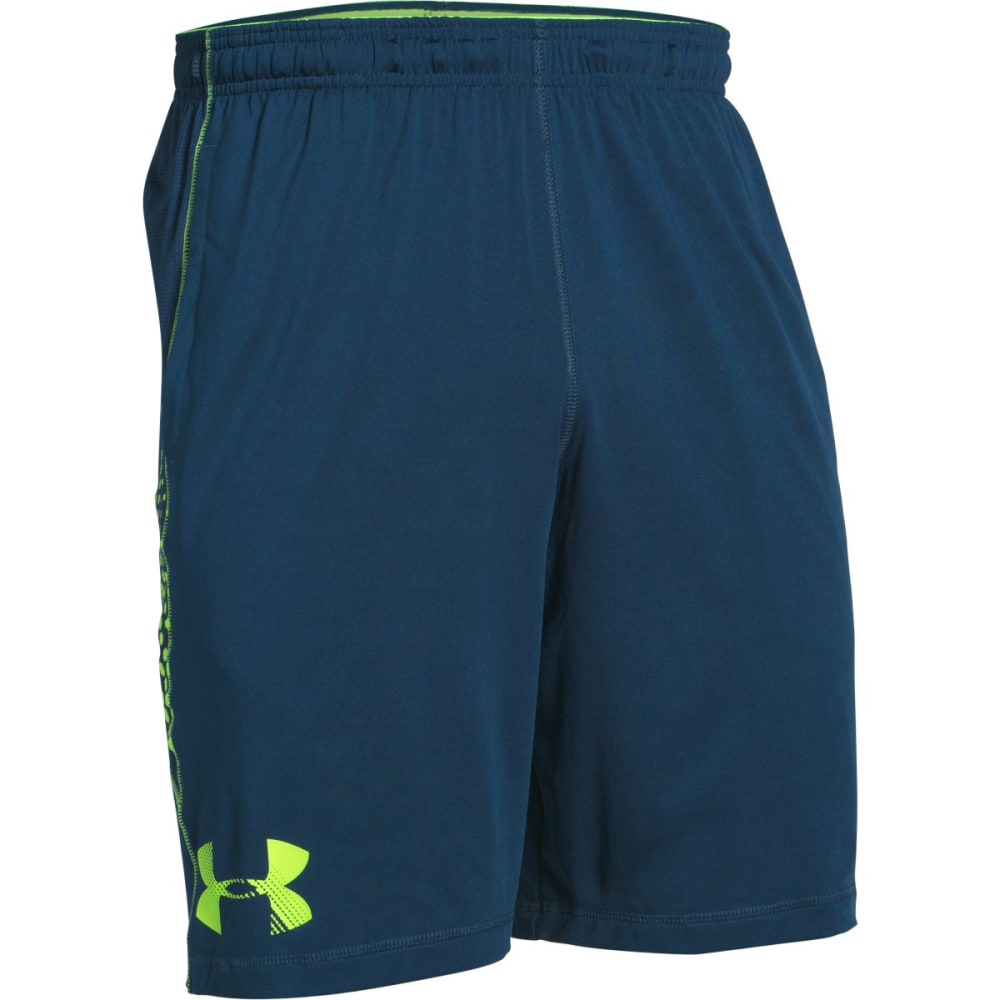 UNDER ARMOUR Men's Raid Graphic Shorts - NAVY/GREEN-997