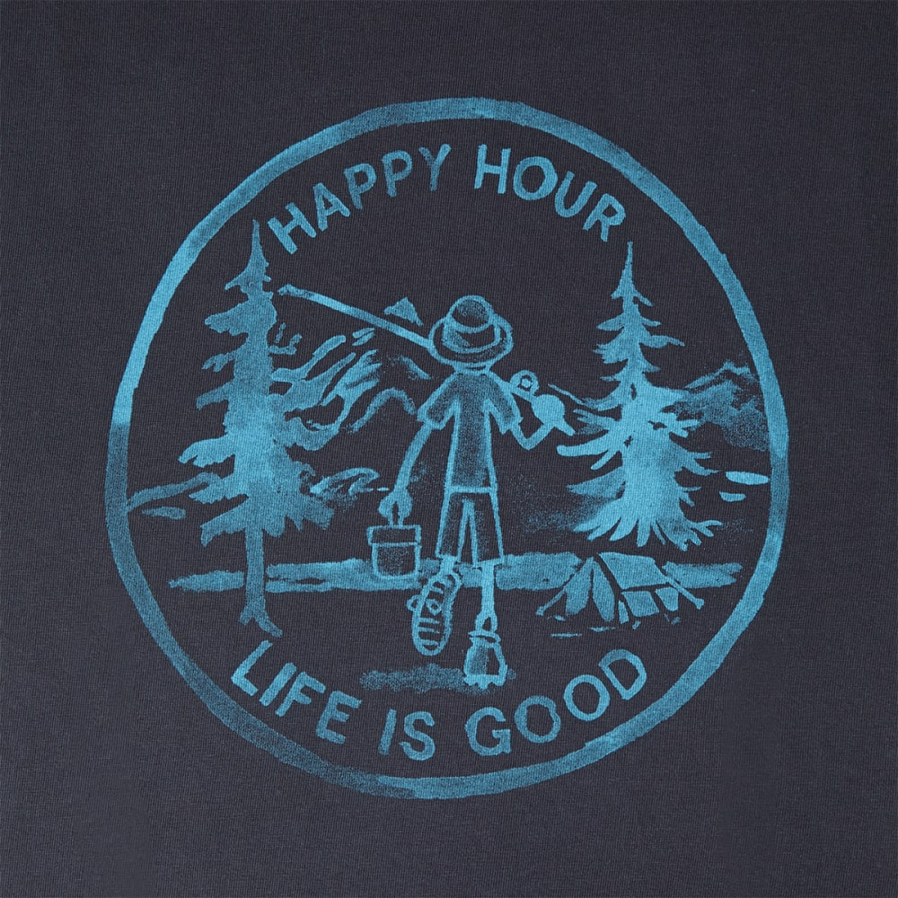 LIFE IS GOOD Men's Happy Hour Fishing Crusher Tee - NIGHT BLACK