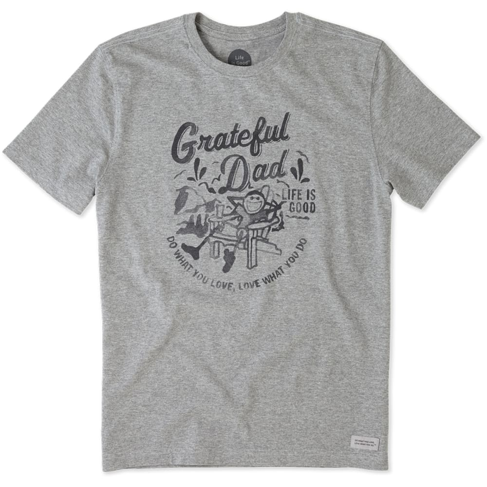 LIFE IS GOOD Men's Grateful Dad Crusher Tee - HEATHER GREY
