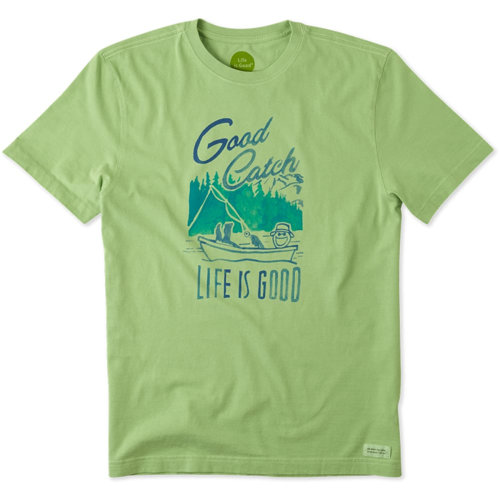LIFE IS GOOD Men's Good Catch Crusher Tee - FERN GREEN