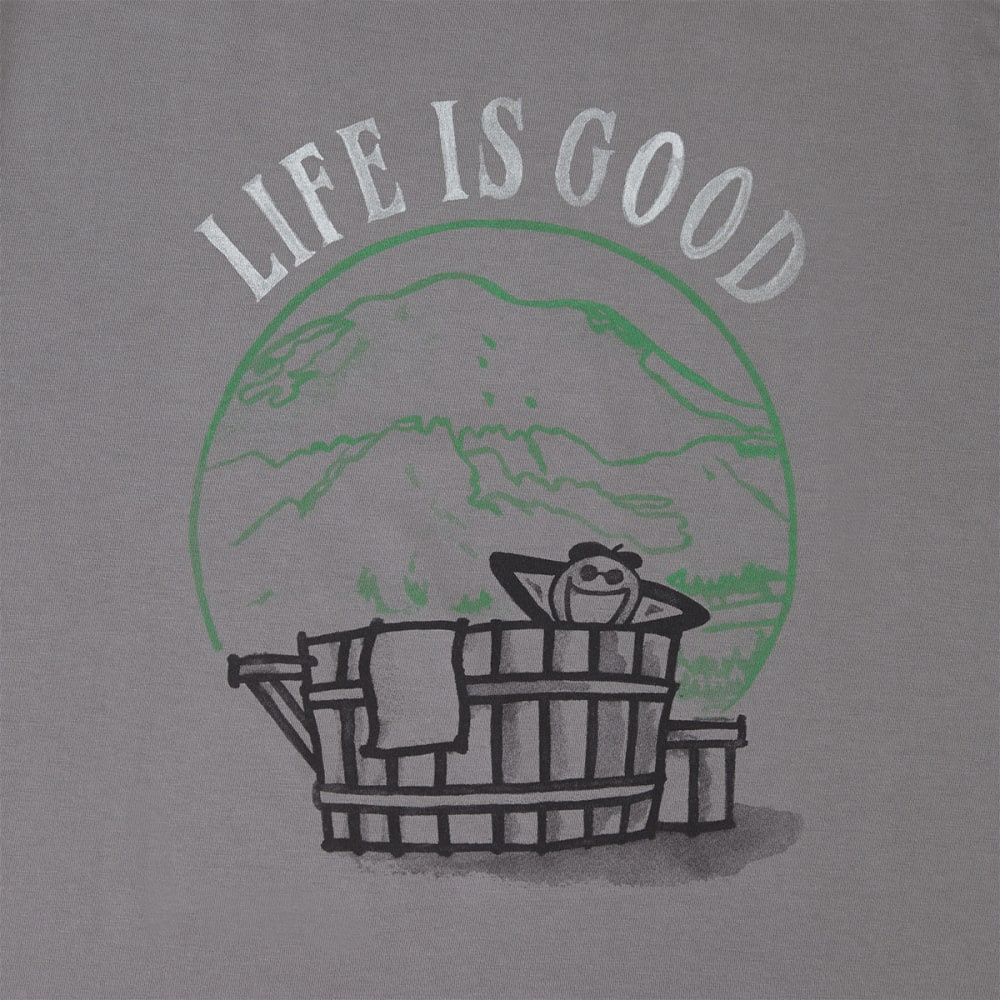 LIFE IS GOOD Men's Hot Tub Jake Crusher Tee - SLATE GREY