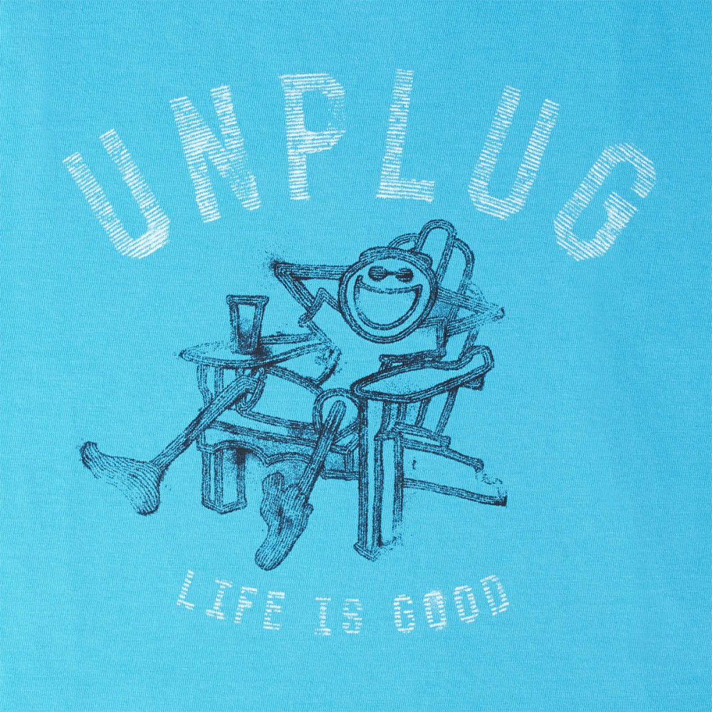 LIFE IS GOOD Men's Unplug Adirondack Crusher Tee - BRIGHT BLUE