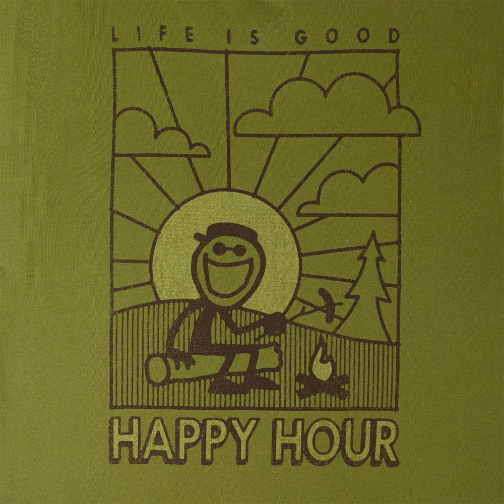 LIFE IS GOOD Men's Happy Hour Jake Crusher Tee - OLIVE