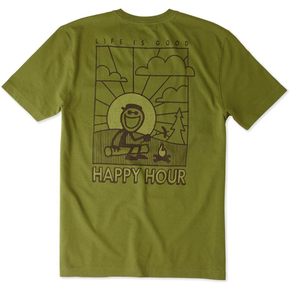 LIFE IS GOOD Men's Happy Hour Jake Crusher Tee - OLIVE