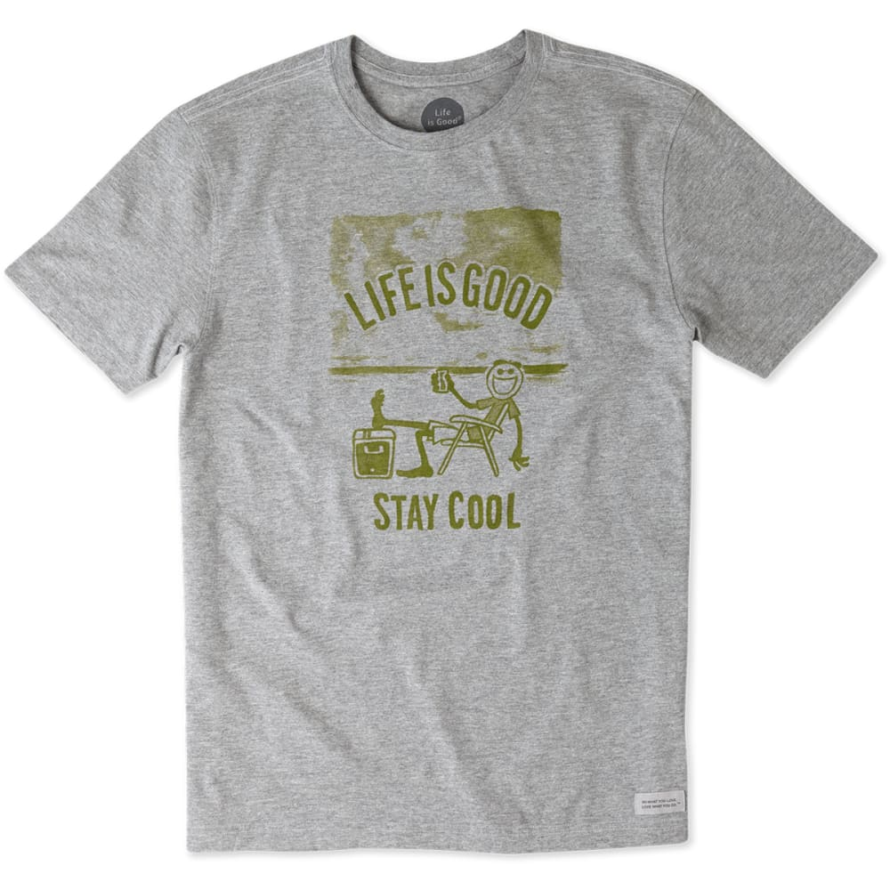 LIFE IS GOOD Men's Stay Cool Crusher Tee - HEATHER GREY