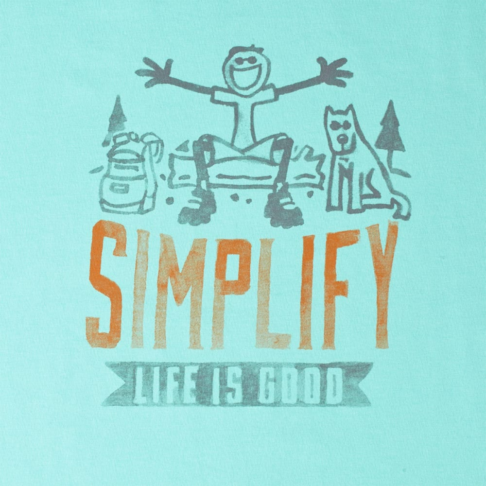 LIFE IS GOOD Men's Simplify Jake Crusher Tee - COOL AQUA