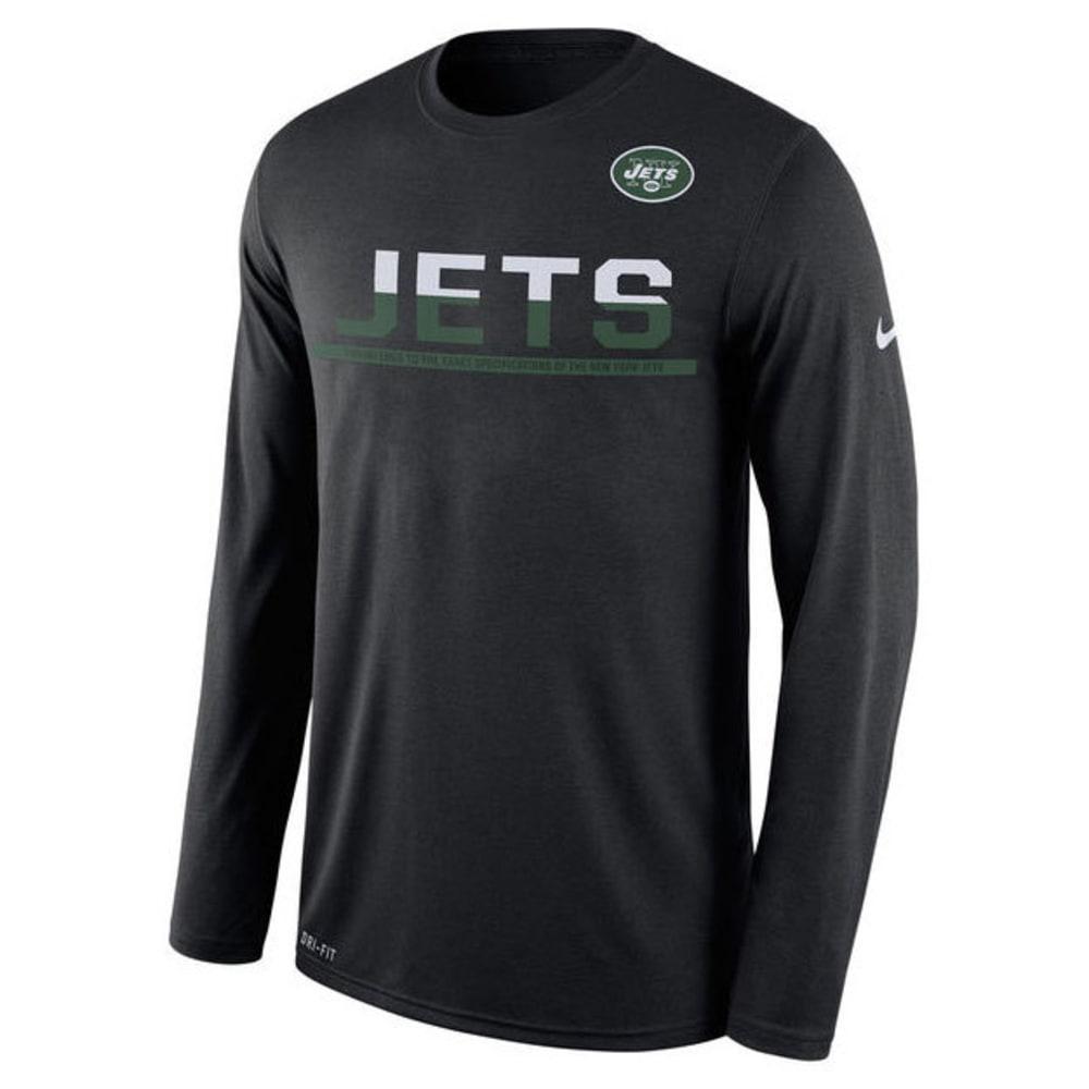 NIKE Men's New York Jets Dri-FIT Practice Long-Sleeve Tee - BLACK